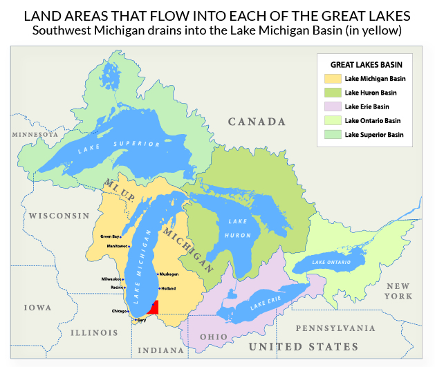 map of great lakes basin